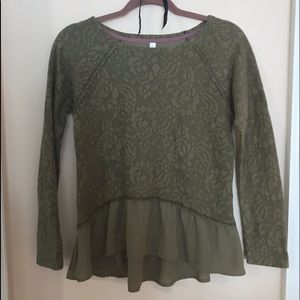 Lace Patterned Army Green Top with Ruffles